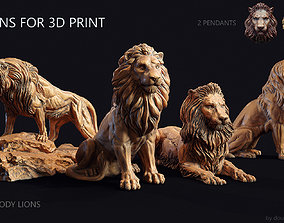 6 lions for 3d print