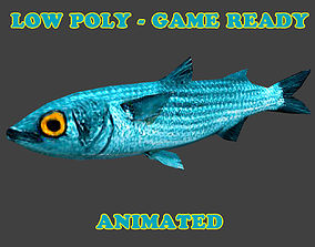 Low Poly White Mullet Fish Animated - Game Ready 3D model