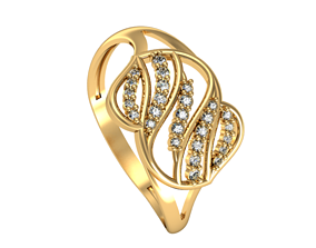 Ring Wave set 3D printable model rings