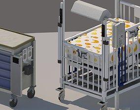 3D asset pediatric intensive care unit crib bed