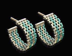 3D printable model earrings of enamel plated pieces