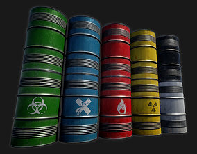 3D model game-ready Low-poly PBR Metal Barrel