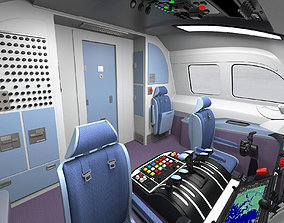 Airplane cabin interior 3D model realtime