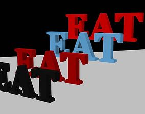 Eat Mesh Word Font 3D asset