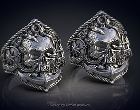 Ring with the skull at anchor 3d model for 3d printing