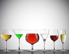 3D model Empty and full glasses on white background