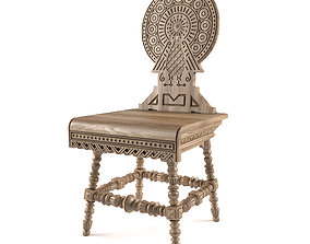 3D model Antique Russian Carved Chair VR AR ready