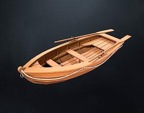 Stylized wooden fishing boat 3D model