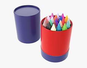 Crayons in a cardboard tube box 3D model