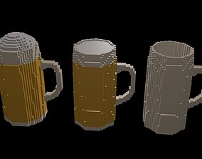 3D Beer mugs voxel 3