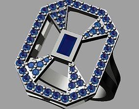 3D printable model baguette-diamond Diamond Ring