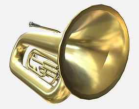Low Poly PBR Tuba 3D asset