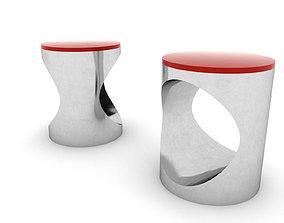 3D asset Chrome Bedside Table