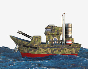 3D model low-poly Military boat