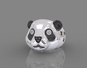 3D printable model Ring panda bear with enamel and gems