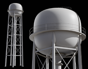 Water tower tank 3D asset