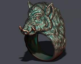 Wild boar ring 3D print model