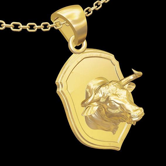 Buffalo Sculpture pendant jewelry gold necklace 3D print model