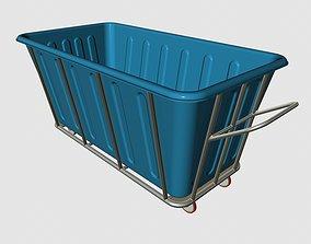 Industrial Plastic Laundry Trolley Basket On Wheels 3D