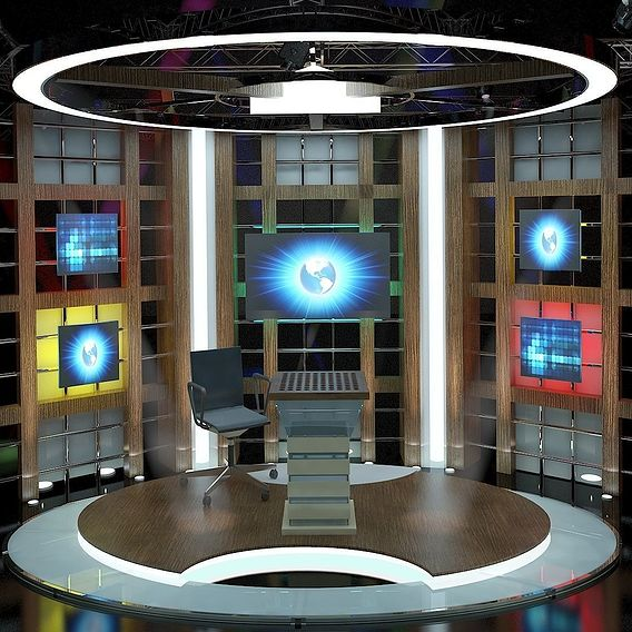 3D Virtual TV Studio Chat Set 3
