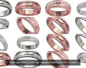Wedding Set Bands For Marriage Engaged 3D Model 1