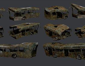 3 Apocalyptic Damaged Destroyed Vehicle Bus 3D asset 3