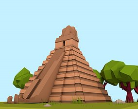 Cartoon Low Poly The Great Jaguar Tikal Temple 3D asset
