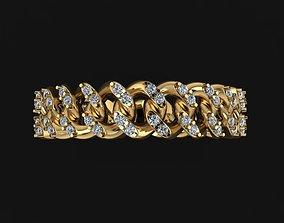 3D printable model Cuban Link Diamond Band Ring SIZE 5