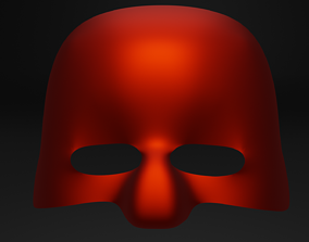 low-poly 3d red mask for character