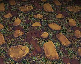 ground stone grass tile 03 3D