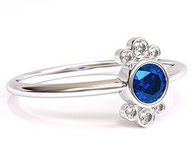 3D printable model Round Diamond Ring in Bezel Setting 2