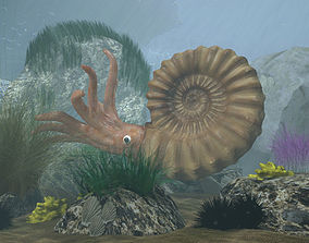 Ammonite with complete underwater scene 3D asset