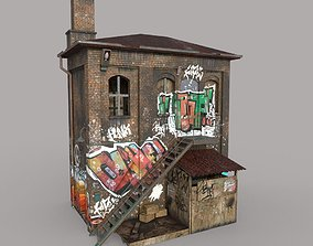 3D asset Abandoned House With Graffiti