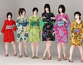 6 girls in kimono pose 01 3D nippon