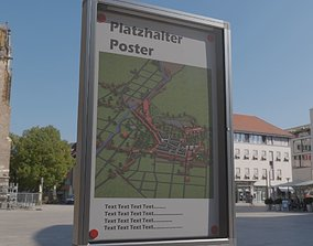 3D model Outdoor Poster Showcase with Light High-Poly