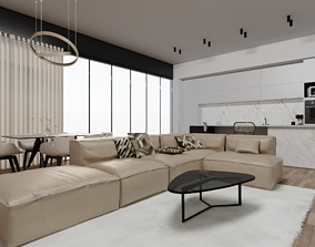 3D model modern Common space living room and kitchen
