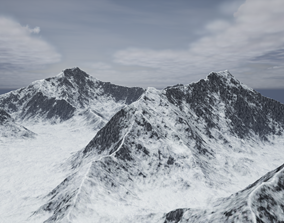 3D asset low-poly PBR Mountains