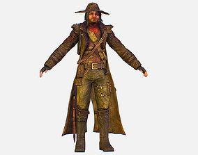 3D model Game Character Cowboy Leather Coat Wide-Brimmed