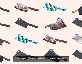 Bloody and Clean Cleavers Game Ready PBR 3D model