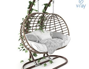 Hanging Garden swing cocoon rattan 3D model