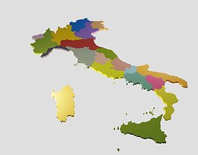 game-ready Italy 3D Map with Regions