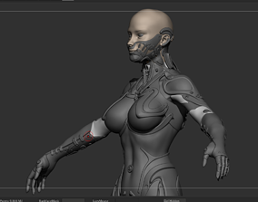 Robot Girl high poly model zbrush project and subtools 3D