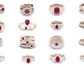delicate 76 Ruby Gemstone Women ring 3dm render detail