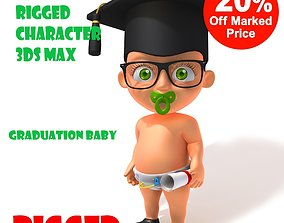 3D model Graduation baby Cartoon Rigged