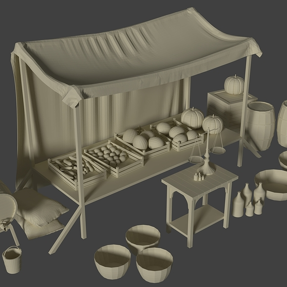 Camelot Market Square v.2( final ) Low-Poly