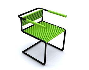 Simple Metal Steel Tube Office Chair - Green 3d Model