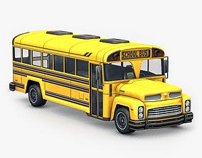 3D asset game-ready urban School Bus