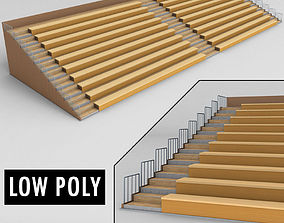 3D model Stadium seating wooden tribune low poly