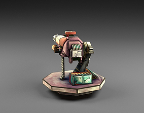 3D model Carton turret machine gun