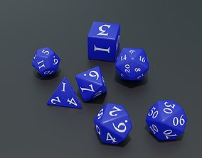 RPG dice asset Blue low-poly